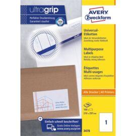 Avery 3478 210x297mm univerzális 100db-os etikett