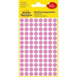 Avery 3594 8mm visszaszedhető 416db-os rózsaszín jelölőpont