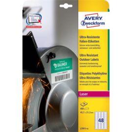 Avery L7911-10 45,7x21,1mm ultra ellenálló 480db-os etikett