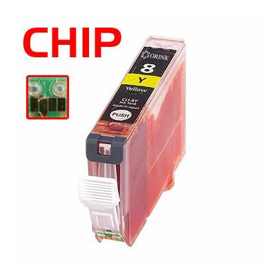 CLI-8Y utángyártott chipes festékpatron 17ml! PQ iP3300 iP4200 iP4300 iP4500 iP5200 iP5200R iP5300