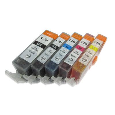 PGI-525Bk - CLI-526 CMYBk set - 5db-os utángyártott chipes patron csomag