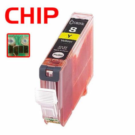 CLI-8Y utángyártott chipes festékpatron QP iP3300 iP4200 iP4300 iP4500 iP5200 iP5200R iP5300 MP500
