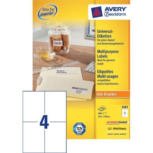 Avery 3483 105×148mm univerzális 400db-os etikett
