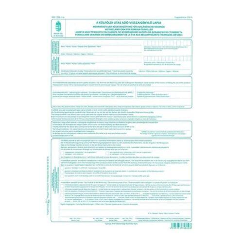 """B.APEH.1396 """"A külföldi utas adó-visszaigénylő lapja"""" nyomtatvány"""