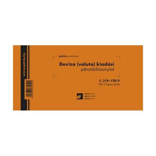 """C.318-120/V 50x3lapos """"Deviza (valuta) kiadási pénztárbizonylat"""" nyomtatvány"""