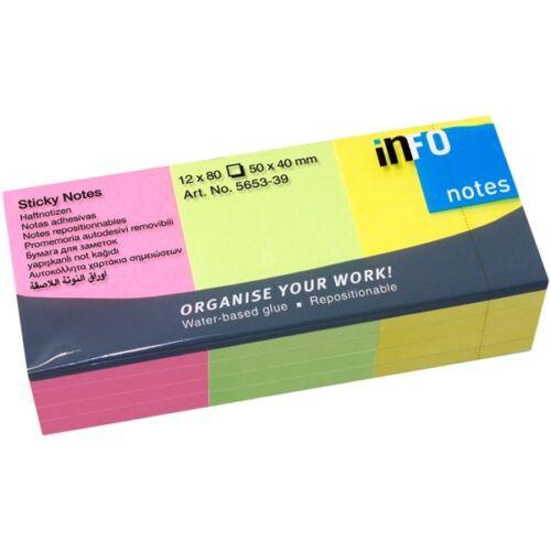 Global Notes 50x40mm 80lap 12tömb/csomag neon jegyzettömb