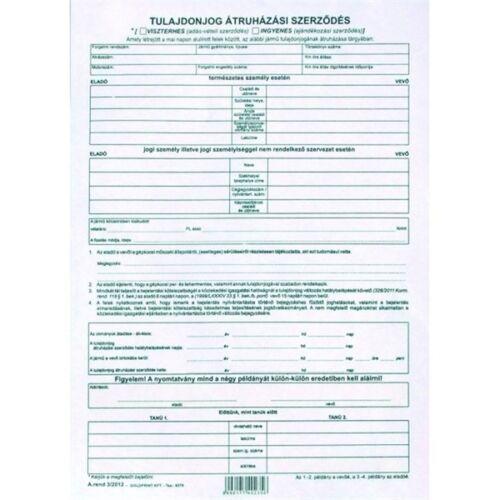 """A.REND3/2012 A4 4lapos """"Tulajdonjog átruházási szerződés"""" nyomtatvány"""