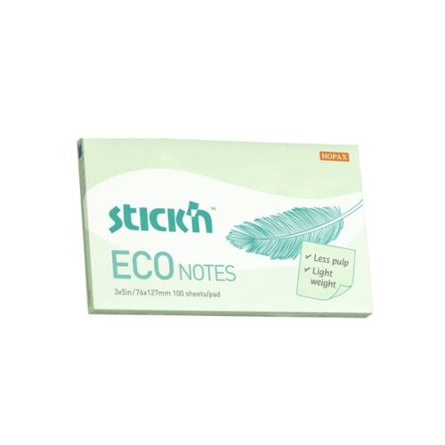 StickN Eco Note 76x127mm 100lap pasztell zöld jegyzettömb