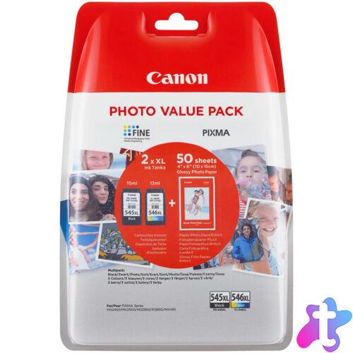 PG-545XL+CL-546XL (8286B006) festékpatron csomag, fekete+színes+fotópapír, nagy kapacitású, eredeti