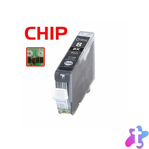 CLI-8Bk utángyártott chipes festékpatron QP iP3300 iP4200 iP4300 iP4500 iP5200 iP5200R iP5300 MP500