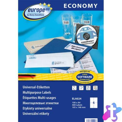 Avery Europe100 ELA024 105x148mm univerzális 400db-os etikett