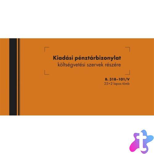"""B.318-101 25x2lapos """"Kiadási pénztárbizonylat költségvetési szervek részére"""" nyomtatvány"""