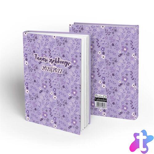 PD School Purple Floral 2021-2022 200 oldalas tanári zsebkönyv